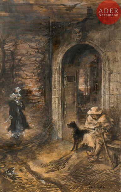 Félix BUHOT (1847-1898) Le Pâtre (projet...