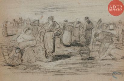 Amédée ROSIER (1831-1898) Les Glaneurs Fusain...