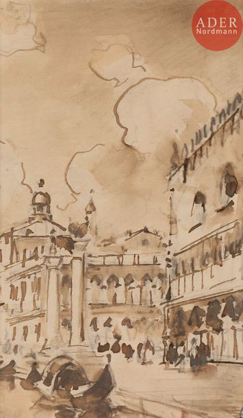 Amédée ROSIER (1831-1898) Venise, palais...