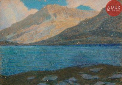 ÉCOLE ITALIENNE vers 1900 Paysage de lac...