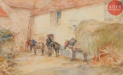 Julia BECK (1853-1935) Cour de ferme à Saint-Clair-sur-Epte,...