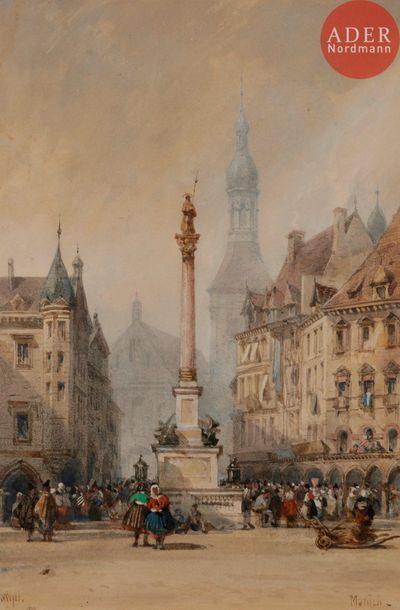 William WYLD (1806-1889) Place à Munich Aquarelle....