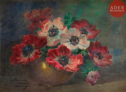 Blanche ODIN (1865-1957) Coupe d'anémones...
