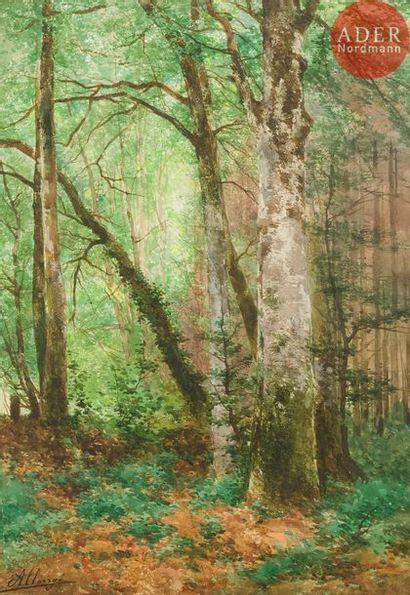 Auguste ALLONGÉ (1833-1898) Sous-bois Aquarelle....