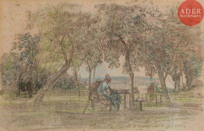 Eugène BOUDIN (1824-1898) Le Repos sous les...