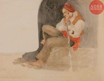 Eugène DELACROIX (1798-1863) Paysan assis...