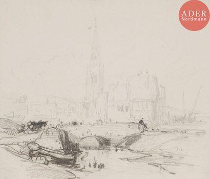 Eugène ISABEY (1803-1886) Paysage au pont...