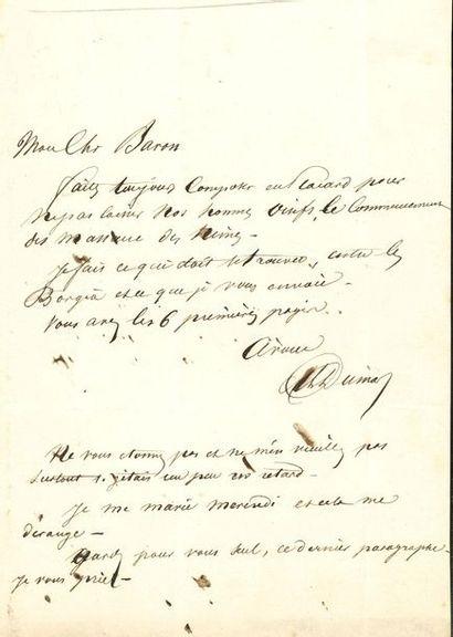 Alexandre DUMAS père (1802-1870). 7 L.A.S.,...
