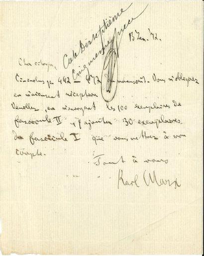 Karl MARX. L.A.S., [Londres] 13 janvier 1872,...