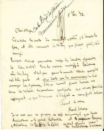 Karl MARX. 4L.A.S., [Londres] 5-28 novembre...