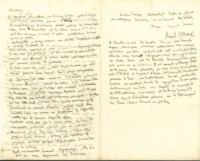 Karl MARX. L.A.S., Londres 11 février 1873, au «Cher citoyen» [Maurice Lachâtre];...