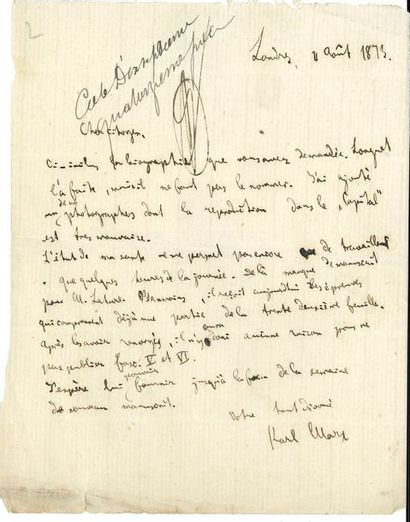 Karl MARX. L.A.S., Londres 4 août 1873, au...