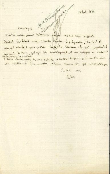 Karl MARX. L.A.S. «K.M.», [Londres] 19...