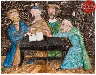Rabbins à l'étude Bas-relief en terre cuite...