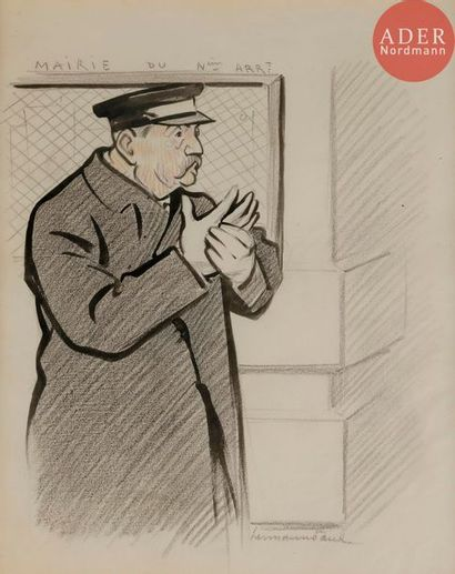 HERMANN-PAUL (1864-1940) LE GARDIEN DE MAIRIE,...