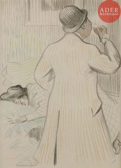 HERMANN-PAUL (1864-1940) L'AMANT, 1907 Crayon...