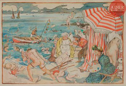 Abel FAIVRE (1867-1945) LA PLAGE, 1901 Aquarelle....