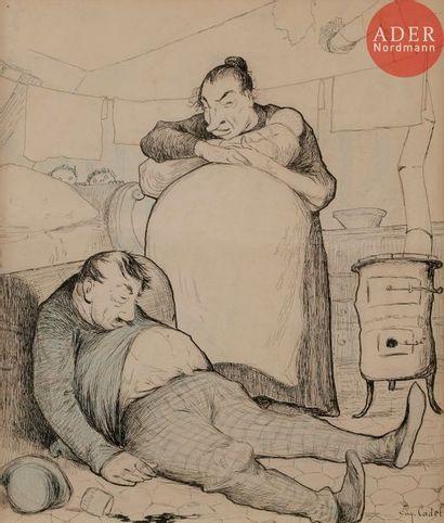 Eugène CADEL (1867-1940) JOIES CONJUGALES,...
