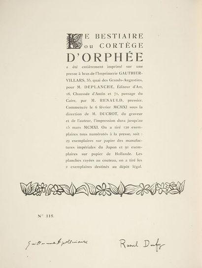 APOLLINAIRE (Guillaume) - DUFY (Raoul). Le Bestiaire ou cortège d'Orphée, Illustré...