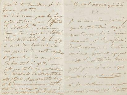 DROUET Juliette (1806-1883). L.A.S. «Juliette», 28 avril [1847], à Victor HUGO;...