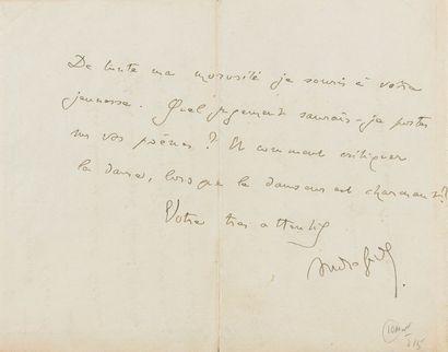 GIDE André (1869-1951). L.A.S. «André Gide», Cuverville 6 août 1912, à Jean COCTEAU;...