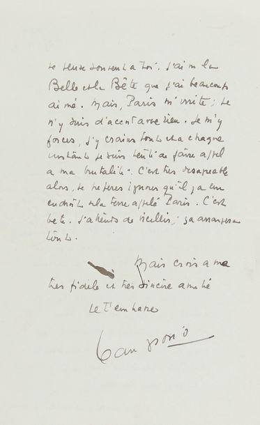 GIONO Jean (1895-1970). L.A.S. «Jean Giono», 27 janvier 1947, à Jean COCTEAU;...