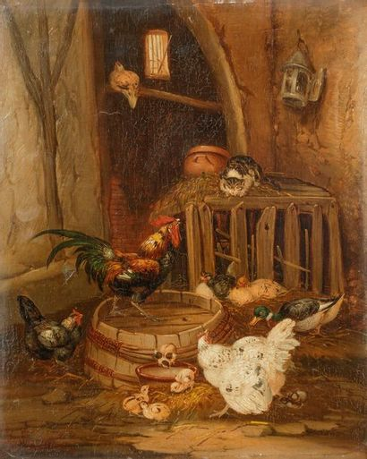 Claude GUILLEMINET (1821-c.1866) Basse-cour...