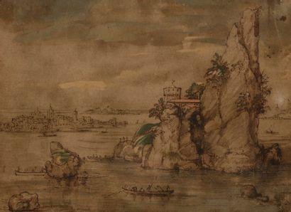 École du XVIIe siècle Paysage lacustre animé...