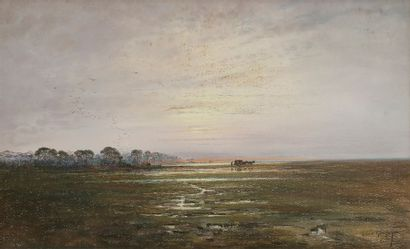 Albert GOUJET (XIX-XXe siècle) Paysage de...