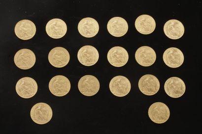 20 pièces de 20 Francs en or. Type Coq. 1907...
