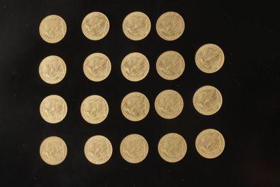 19 pièces de 20 Francs en or. Type Coq. 1907...