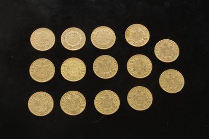 14 pièces de 20 Francs en or. Type Napoléon...