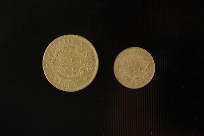 Lot de 2 pièces françaises en or : - 1 pièce...