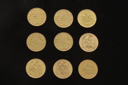 9 pièces de 20 Francs en or dans un sachet...