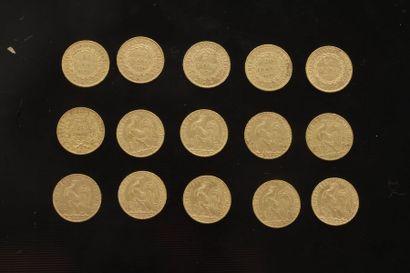 Lot de 15 pièces de 20 Francs en or : - 1...