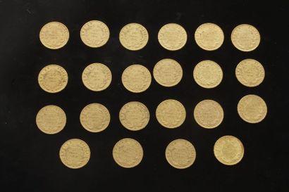 Lot de 22 pièces de 20 Francs en or. Type...