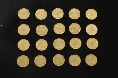 Lot de 20 pièces de 20 Francs en or. Type...