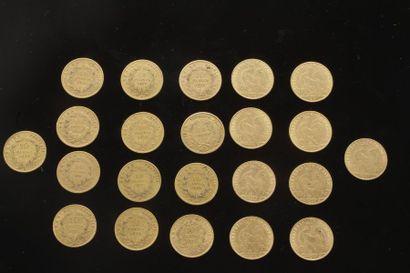 Lot de 22 pièces de 10 Francs en or: - Type...