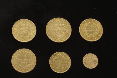 Lot de 6 pièces françaises en or: - 1 pièce...