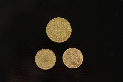 Lot de 3 pièces françaises en or: - 1 piece...