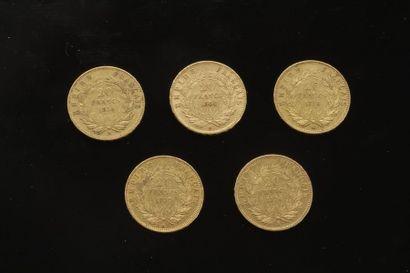 5 pièces de 20 Francs en or. Type Napoléon...