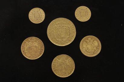 Lot de 6 pièces étrangères en or : - 1 pièces...