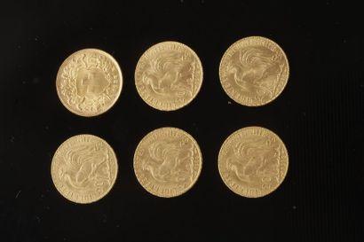 Lot de 6 pièces en or dont : - 5 pièces de...
