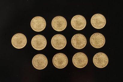 13 pièces de 20 Francs Suisse. Type Helvetia;...