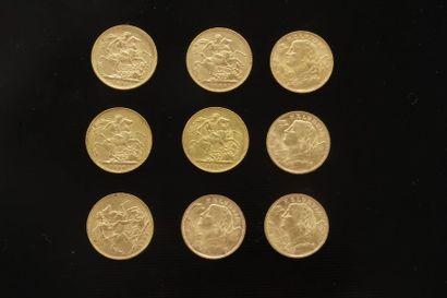 Lot de 9 pièces en or étrangères dans un...