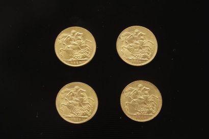4 Souverains en or dans un sachet 2017025....