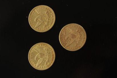 3 pièces de 10 Dollars en or. Type Liberty....
