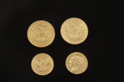 Lot de 4 pièces en or américaines dans un...
