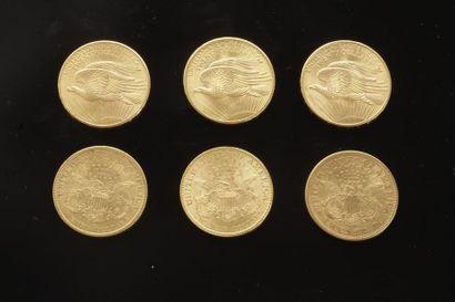 6 pièces de 20 Dollars en or dans un sachet...