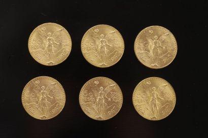 6 pièces de 50 Pesos en or dans un sachet...
